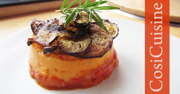 parmentier patate douce, tomate et aubergine