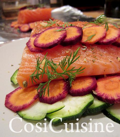Recette recette express papillote de saumon aux carottes mauves - Saumon papillote au four ...